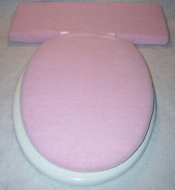 Solid LIGHT PALE PINK fleece Elongated Toilet Seat Lid - Tan