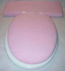 Solid LIGHT PINK fleece Elongated Toilet Seat Lid and Tank L