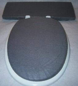 Solid MEDIUM GRAY fleece Elongated Toilet Seat Lid and Tank