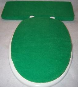 Solid Medium GREEN fleece Elongated Toilet Seat Lid and Tank
