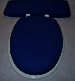 Solid NAVY BLUE fleece Elongated Toilet Seat Lid - Tank Lid