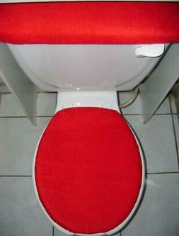 SOLID RED Fleece Fabric - Elongated Toilet Seat Lid & Tank C