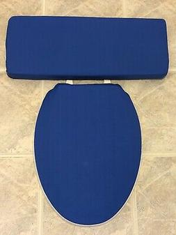 Solid Royal Blue Bathroom Decor Elongated Toilet Seat & Tank
