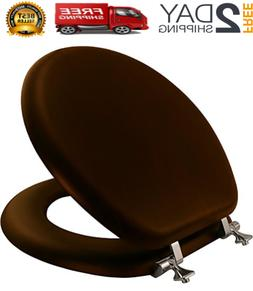 Solid Wood Toilet Seat Oak Elongated Wooden Finish Chrome Hi
