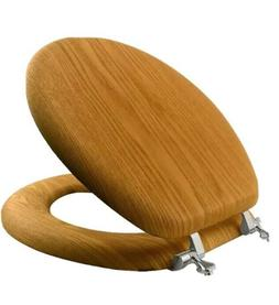 Solid Wood Toilet Seat Oak Round Wooden Chrome Hinges Natura