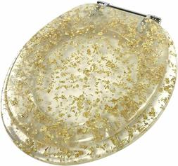 Ginsey Standard Resin Toilet Seat with Chrome Hinges, Gold F