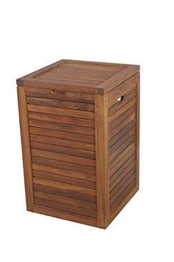 Medium Teak Laundry Hamper, or Indoor Outdoor Storage Bin