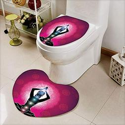 iPrint 2 pcs Toilet Cover Set Non-Slip mat Bathroom Non-Slip