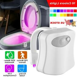 Toilet Night Light 16Color LED Motion Activated Sensor Bathr