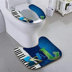 aolankaili Toilet seat Cushion Decor Abstract Cracked Jazz M