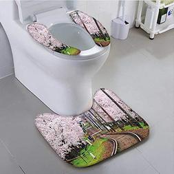 aolankaili Toilet seat Cushion with Japanese Sakura Trees Ch