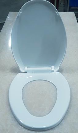 Toilet Seat ELONGATED White Durable Plastic EZ Soft Close Am
