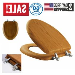 Toilet Seat Luxury Comfort Seats Elongated Oak Wood Chrome H