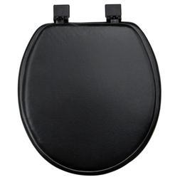 Toilet Seat Round Black Soft Vinyl Padded Cushioned Standard