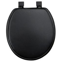 Toilet Seat Round Black Soft Vinyl Padded Cushioned Standard