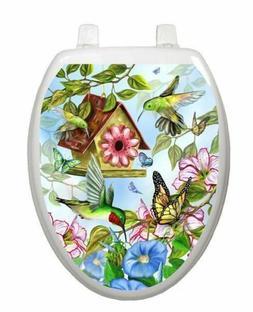 Toilet Tattoos Toilet Seat Decor Hummingbirds Vinyl Decor LS