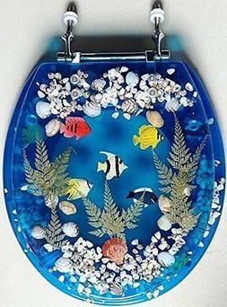 Transparent Fish Aquarium Round Standard Size Toilet Seat wi
