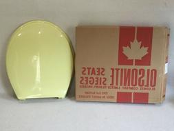 Vintage Saffron Yellow Olsonite Toilet Seat, Hwd & Lid Roun