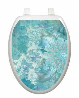 Toilet Tattoos TT-1088-O Blue Floral Haze Toilet Lid Appliqu
