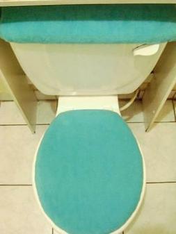 TURQUOISE Fleece Fabric- Elongated Toilet Seat Lid & Tank Co