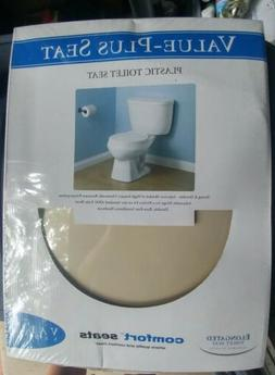 Value-Plus Standard Elongated Plastic Toilet Seat, Bone