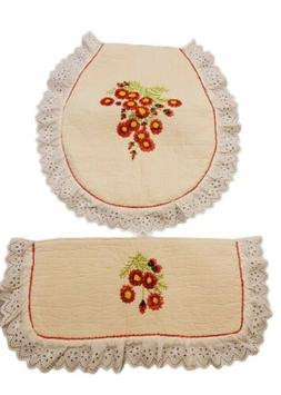 Vintage Toilet Seat And Tank Cover Ruffles and Flowers