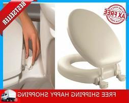 Soft Toilet Seat W/ Molded Wood Core Bone Color Round Cushio