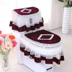 Warm Tank Lid Top Cover Set Lace Cloth Closestool Winter Toi