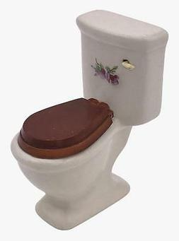 White Ceramic Dollhouse Toilet with Wooden Toilet Seat and D