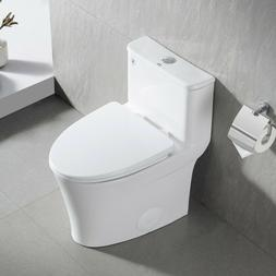 Compact White Ceramic Modern One Piece Elongated Toilet  1.2