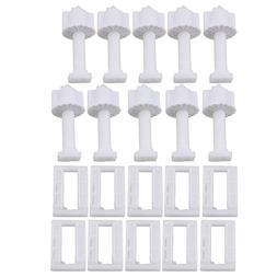 RDEXP White Plastic Rectangular Toilet Seat Cover Hinge Blin