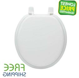 White Round Wood Toilet Seat High-Gloss Finish Durable Close