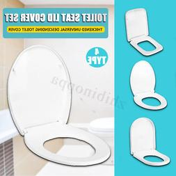 White Toilet Seat Lid Closed Front Soft Slow Close Cover Rep