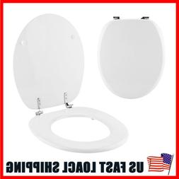 White  Toilet Seat Luxury Comfort Seats Elongated MDF Chrome