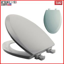 Wood Elongated Toilet Seat with Easy Clean & Change Hinges 1