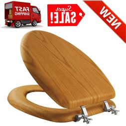 WOOD FINISH Toilet Seat High Quality W/ Chrome Hinges Elonga