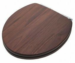 Wood Toilet Seat Blk Walnut Chrome Hinge JONES STEPHENS C2B1