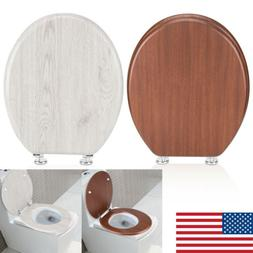Wood Toilet Seat Lift off Closed Front Elongated Adjustable