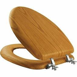 Wood Toilet Seat Oak Elongated Wooden Finish Chrome Hinges N
