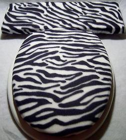 ZEBRA black white stripe fleece Elongated Toilet Seat Lid an