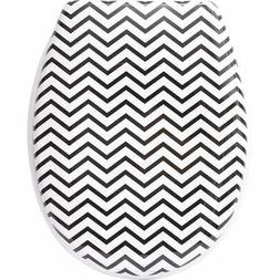 Evideco Zigzag Printed Duroplast Oval Toilet Seat 17L x 14.6
